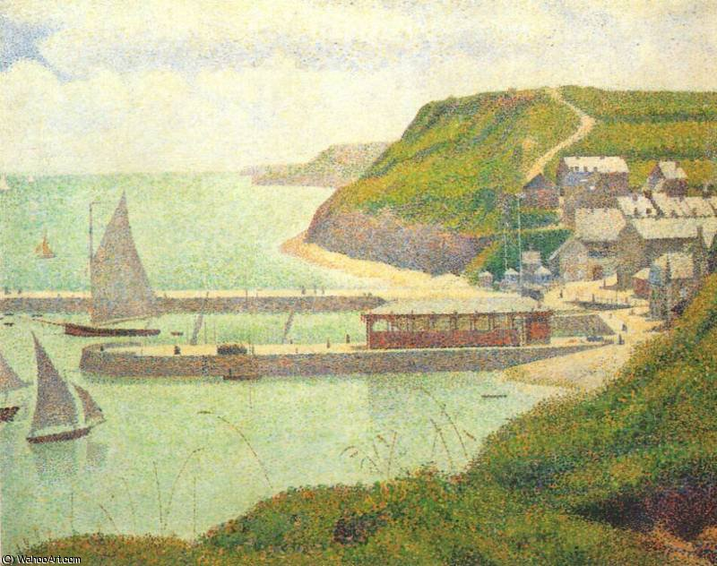 famous painting port en bessin (the outer harbor at high tide) - of Georges Pierre Seurat