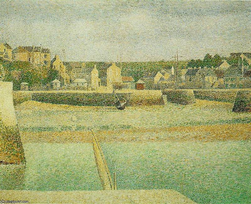 famous painting Port en Bessin- The Outer Harbor at Low Tide of Georges Pierre Seurat