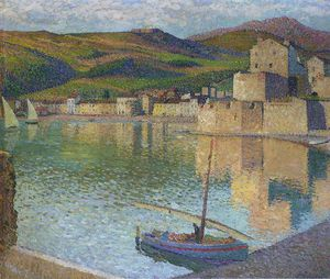 Henri Jean Guillaume Martin - Blue Boat in Port Collioure
