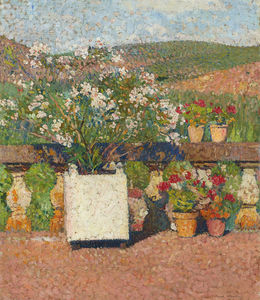Henri Jean Guillaume Martin - Roses and Geraniums on the Terrace at Marquayrol