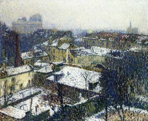 Henri Jean Guillaume Martin - The Roofs of Paris in the Snow the View from the Artists Studio