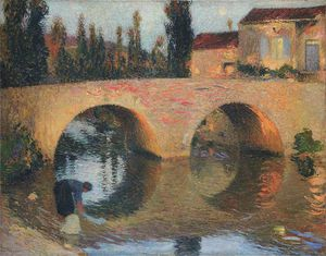 Henri Jean Guillaume Martin - Woman Washing Clothes in River