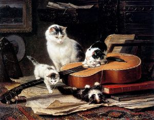 Henriette Ronner Knip - practice on the guitar sun