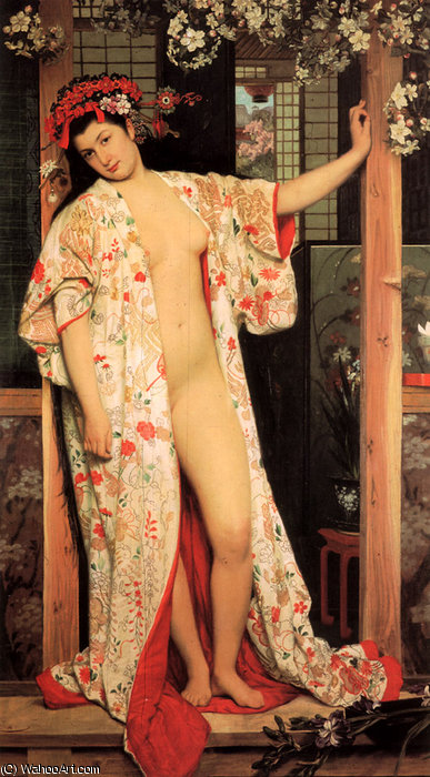 famous painting japonaise au bain of James Jacques Joseph Tissot