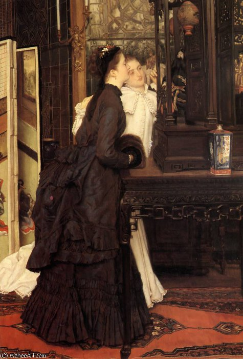 famous painting Young Ladies Looking at Japanese Objects of James Jacques Joseph Tissot