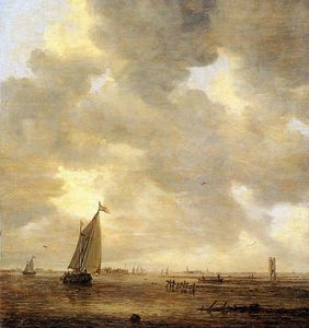 Jan Van Goyen - Calm water Sun