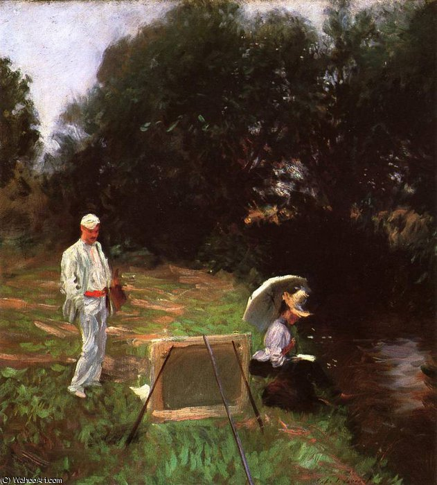 famous painting Dennis Miller Bunker Painting at Calcot of John Singer Sargent