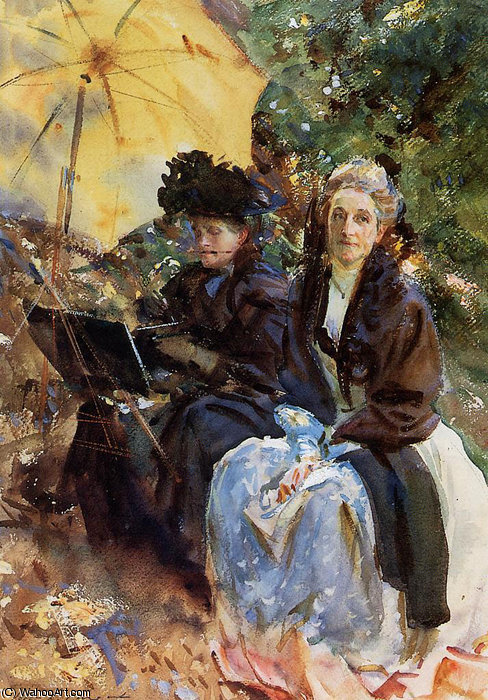 famous painting Miss Wedewood and Miss Sargent Sketching of John Singer Sargent