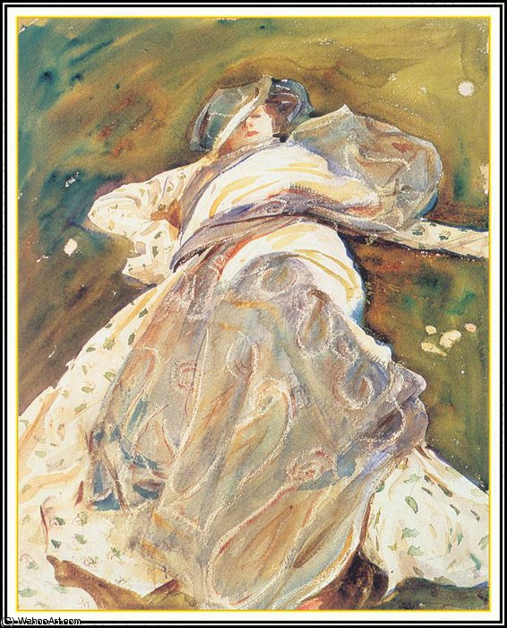 famous painting woman reclining of John Singer Sargent