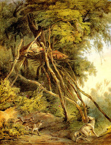 Karl Bodmer - Tombs of Assiniboin Indians in Trees