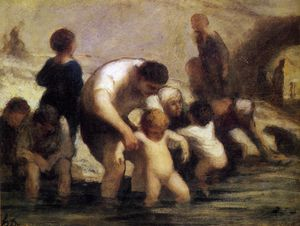 Honoré Daumier - Les Enfants au bain, huile sur panneau The Children with the bath, oils on panel