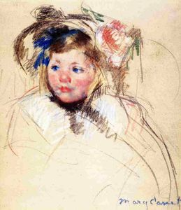 Mary Stevenson Cassatt - Head of Sara in a Bonnet Looking Left