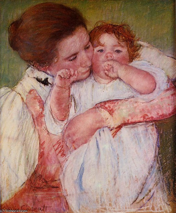 famous painting Little Ann Sucking Her Finger Embraced by Her Mother of Mary Stevenson Cassatt