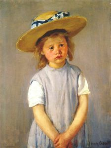 Mary Stevenson Cassatt - little girl in big straw hat and pinafore