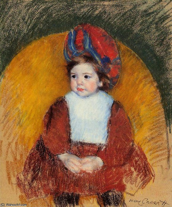 famous painting Margot in a Dark Red Costume Seated on a Round Backed Chair of Mary Stevenson Cassatt