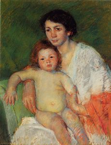 Mary Stevenson Cassatt - Nude Baby on Mother's Lap Resting Her Arm on the Back of the Chair