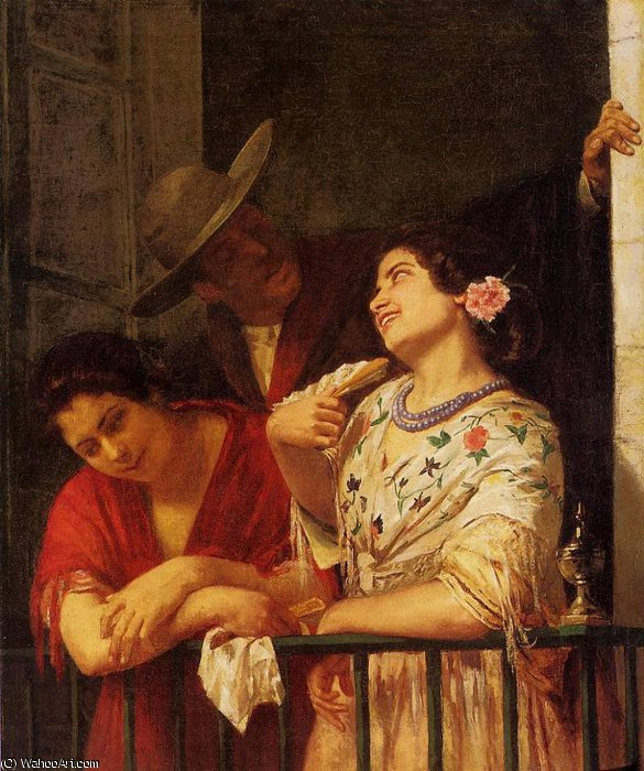 famous painting The Flirtation A Balcony in Seville of Mary Stevenson Cassatt
