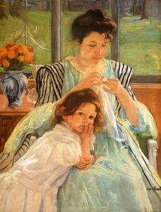 Mary Stevenson Cassatt - young mother sewing