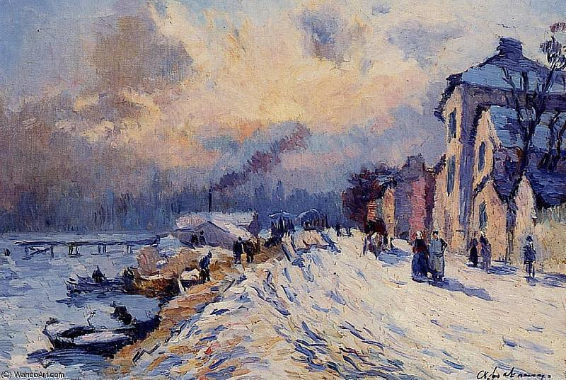 famous painting Banks of the Seine Winter at Herblay of Albert-Charles Lebourg (Albert-Marie Lebourg)