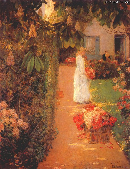 famous painting gathering flowers in a french garden of Frederick Childe Hassam