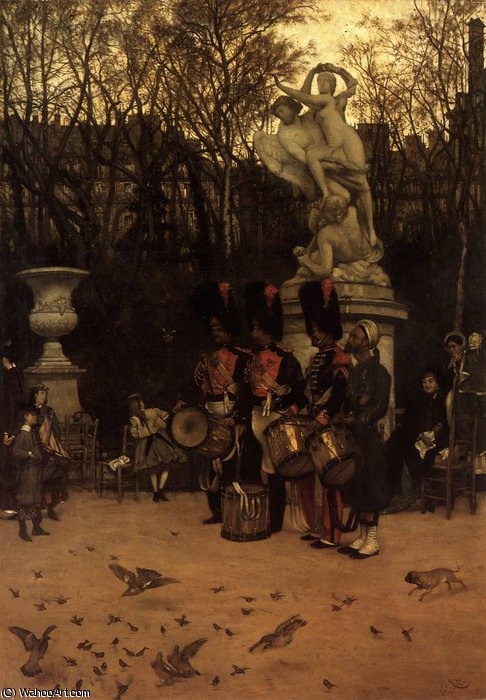 famous painting Beating the Retreat in the Tuileries Gardens of James Jacques Joseph Tissot