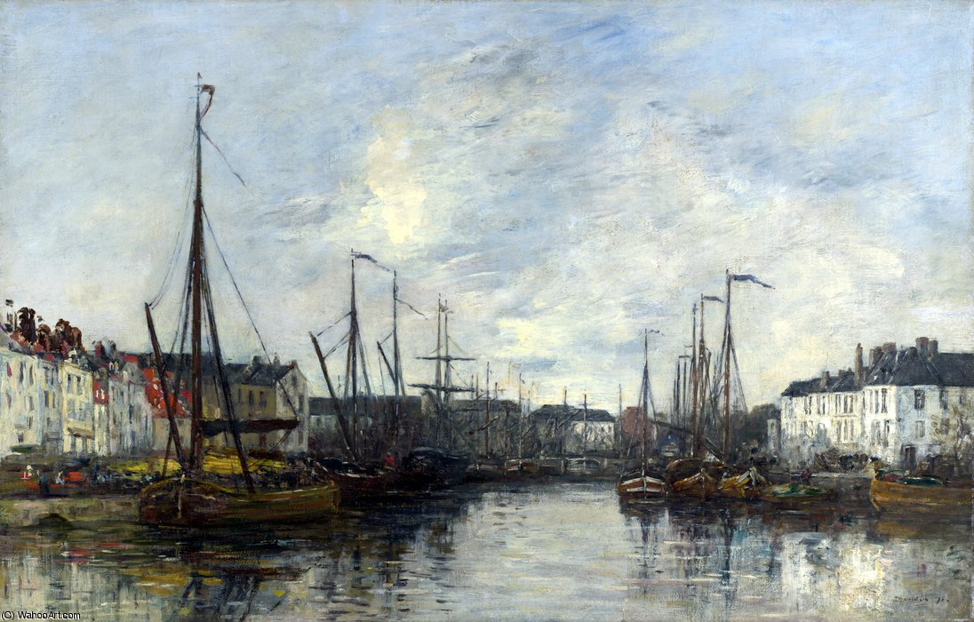 famous painting Brussels harbour of Eugène Louis Boudin