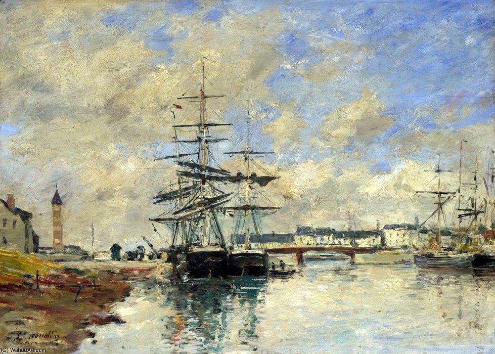 famous painting Deauville harbour of Eugène Louis Boudin