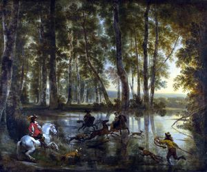 Jan Hackaert - A Stag Hunt in a Forest