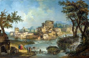 Michele Giovanni Marieschi - Buildings and Figures near a River with Rapids