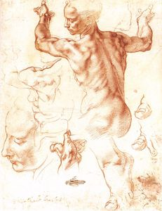 Michelangelo Buonarroti - Sistine Chapel-Study for the Libyan Sibyl