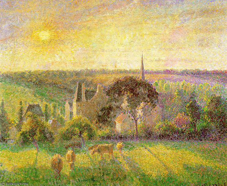 famous painting Countryside & Eragny Church and Farm of Camille Pissarro