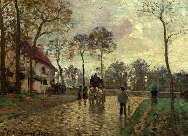 famous painting Stage coach of Camille Pissarro