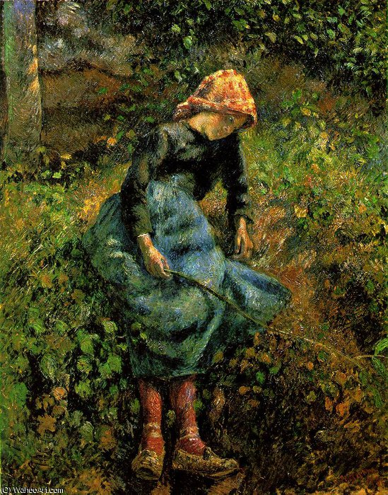 famous painting The Shepherdess (Young Peasant Girl with a Stick) of Camille Pissarro