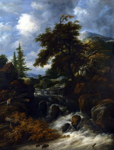 Salomon Van Ruysdael - A Waterfall by a Cottage in a Hilly Landscape