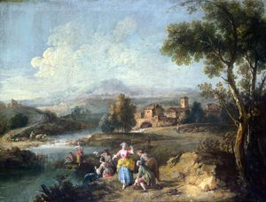 Giuseppe Zais - Landscape with a Group of Figures Fishing