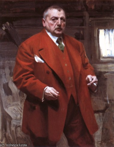 famous painting Self portrait in red of Anders Leonard Zorn