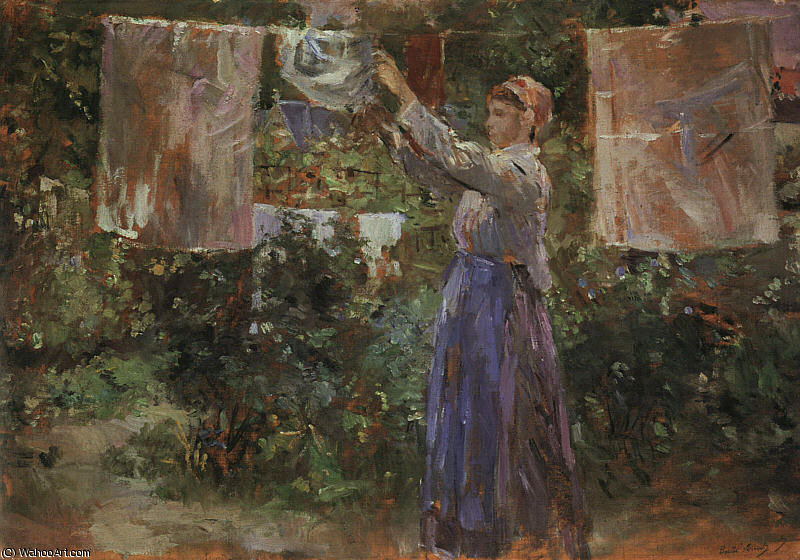 famous painting Peasant Hanging out the Washing of Berthe Morisot