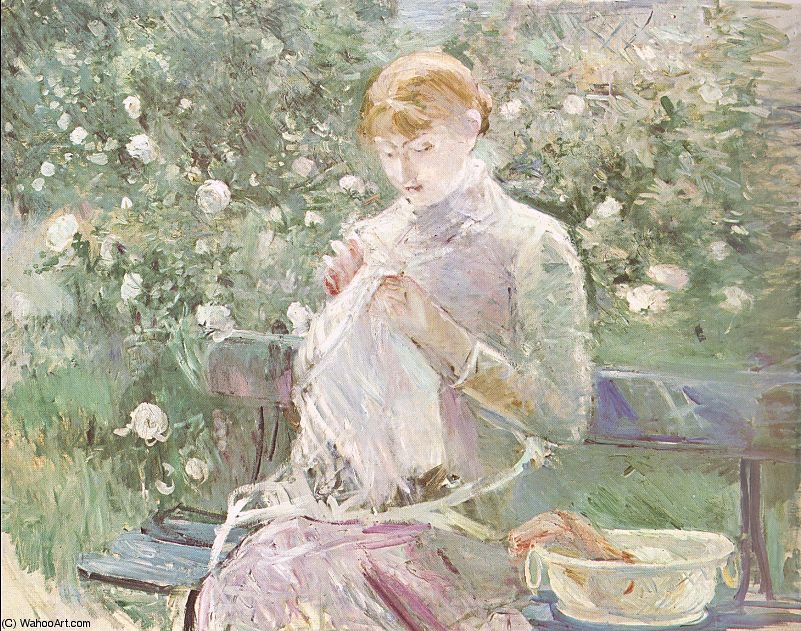 famous painting Young Woman Sewing in a Garden of Berthe Morisot