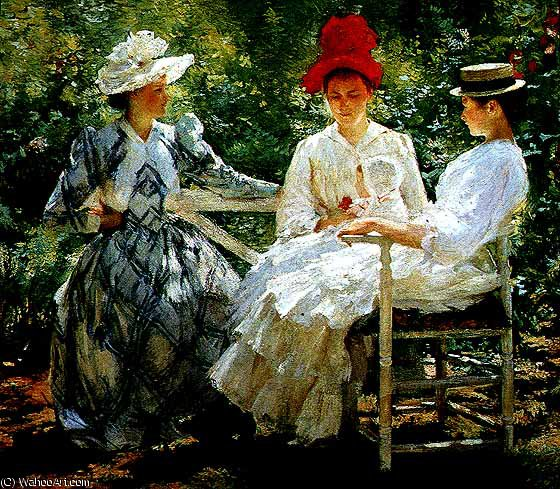 famous painting In a garden USC of Edmund Charles Tarbell