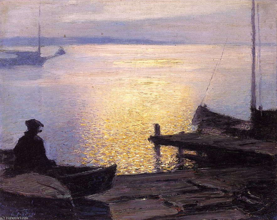 famous painting Along the Mystic River of Edward Henry Potthast