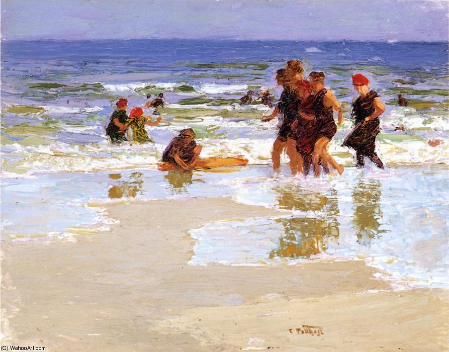 famous painting At the Seashore of Edward Henry Potthast