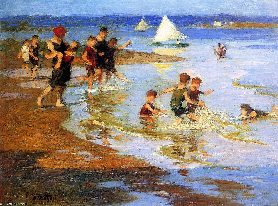 famous painting Children at Play on the Beach of Edward Henry Potthast