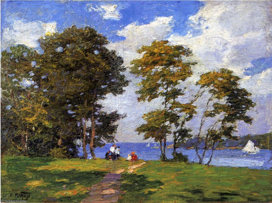 famous painting Landscape by the Shore aka The Picnic of Edward Henry Potthast