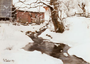 Frits Thaulow - winter on the isle of stord