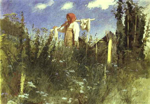 Ivan Nikolaevich Kramskoy - Girl with Washed Linen on the Yoke
