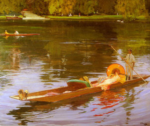 John Lavery - boating on the thames