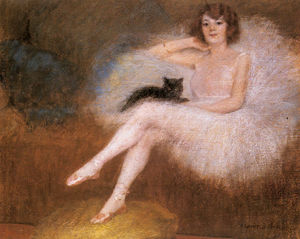 Albert Ernest Carrier Belleuse - Ballerina with a black cat