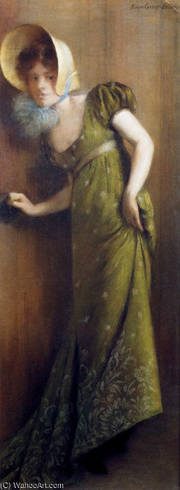 famous painting Elegant woman in a green dress of Albert Ernest Carrier Belleuse