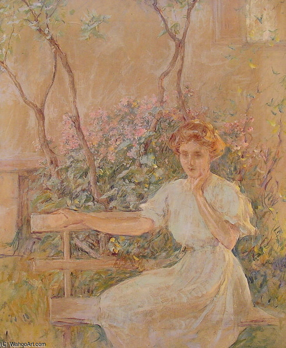 famous painting The_Garden-Seat of Robert Lewis Reid