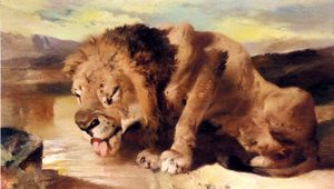 Edwin Henry Landseer - lion drinking at a stream
